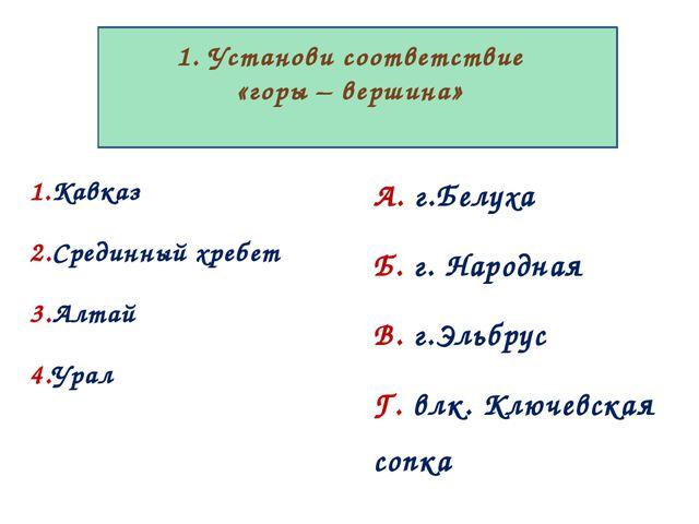 1. Установи соответствие «горы – вершина» 1.Кавказ 2.Срединный хребет 3.Алта...
