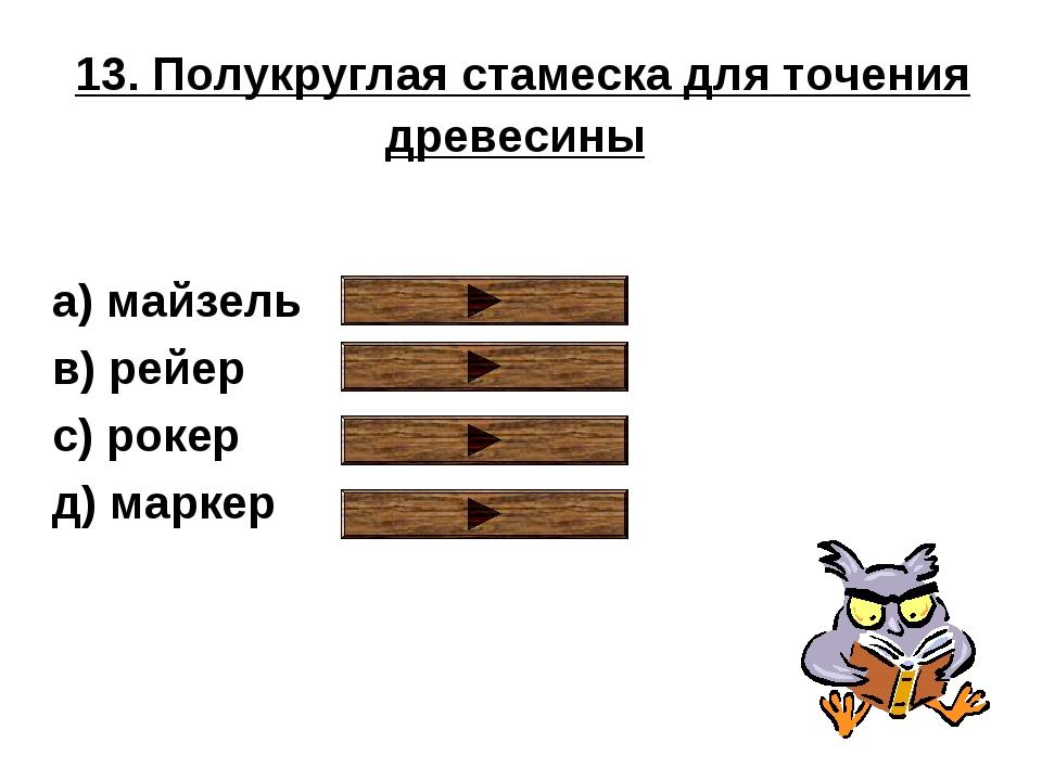 13. Полукруглая стамеска для точения древесины a) майзель в) рейер с) рокер д...