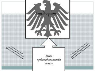 Бундесрат орган представительства земель состоит из членов правительств земел