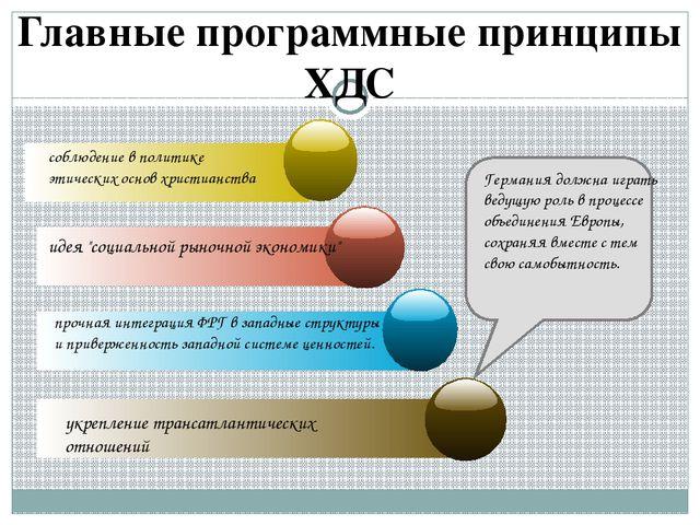 Главные программные принципы ХДС соблюдение в политике этических основ христи...