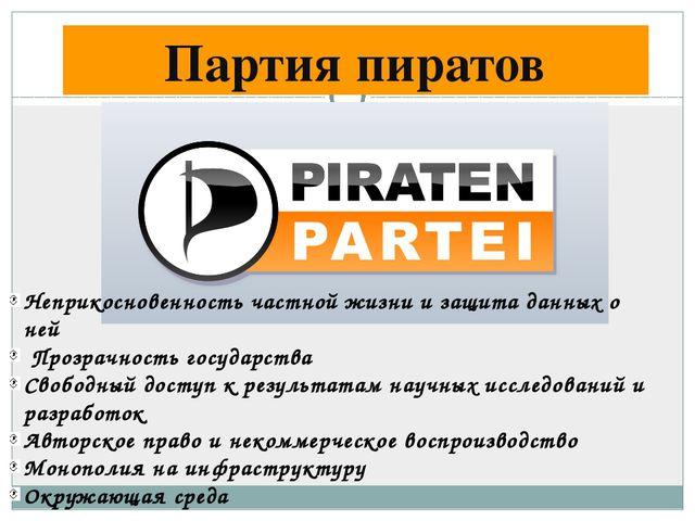 Партия пиратов Неприкосновенность частной жизни и защита данных о ней Прозрач...