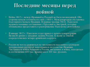 Последние месяцы перед войной Война 1812 г. между Францией и Россией не была