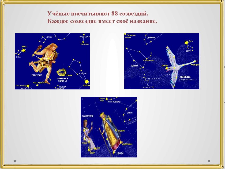 Учёные насчитывают 88 созвездий. Каждое созвездие имеет своё название.