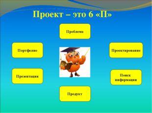Проект – это 6 «П» Проблема Проектирование Портфолио Поиск информации Продукт