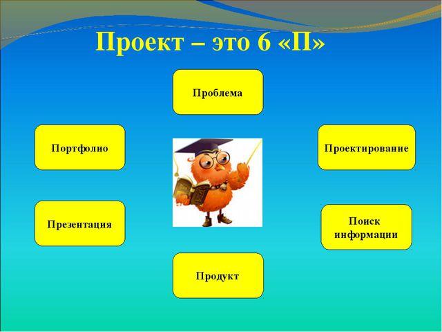 Проект – это 6 «П» Проблема Проектирование Портфолио Поиск информации Продукт...
