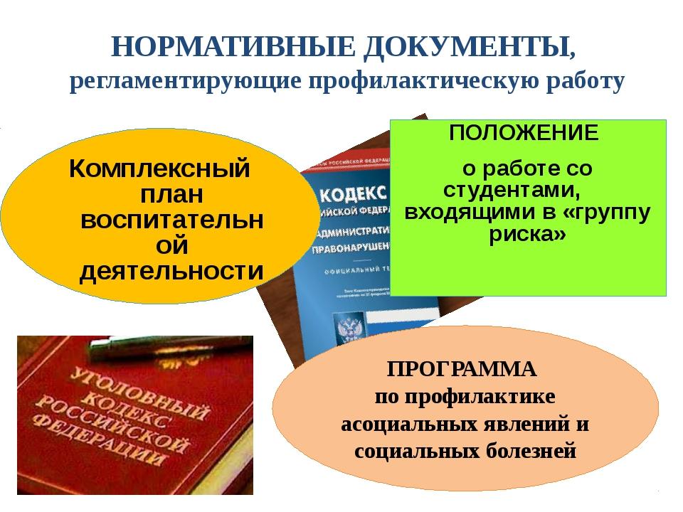НОРМАТИВНЫЕ ДОКУМЕНТЫ, регламентирующие профилактическую работу ПОЛОЖЕНИЕ о р...