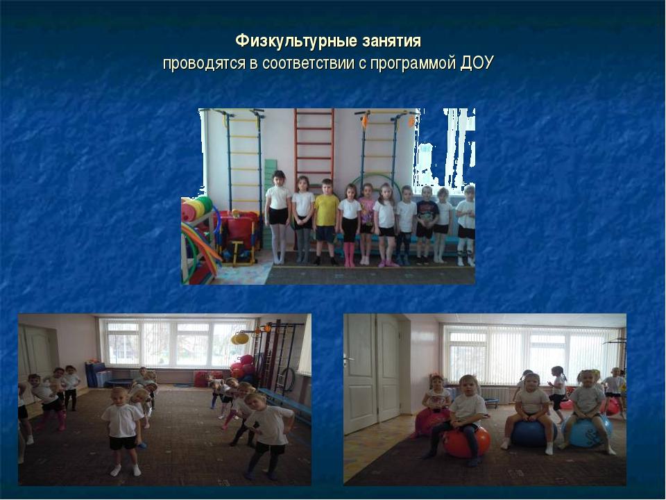 Физкультурные занятия проводятся в соответствии с программой ДОУ
