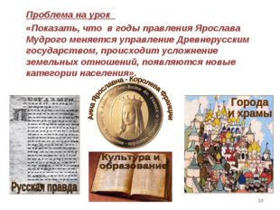 * Проблема на урок «Показать, что в годы правления Ярослава Мудрого меняется