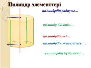 Цилиндр элементтері цилиндр биіктігі… цилиндрдің радиусы… цилиндрдің осі… цил
