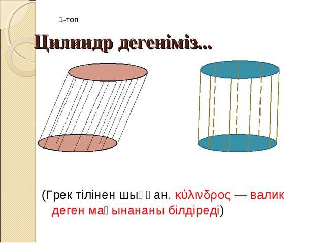 Цилиндр дегеніміз... (Грек тілінен шыққан.κύλινδρος— валик деген мағынананы...