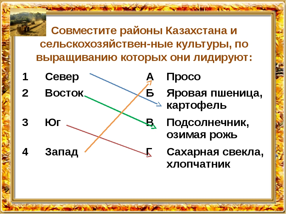 Совместите районы Казахстана и сельскохозяйственные культуры, по выращиванию...