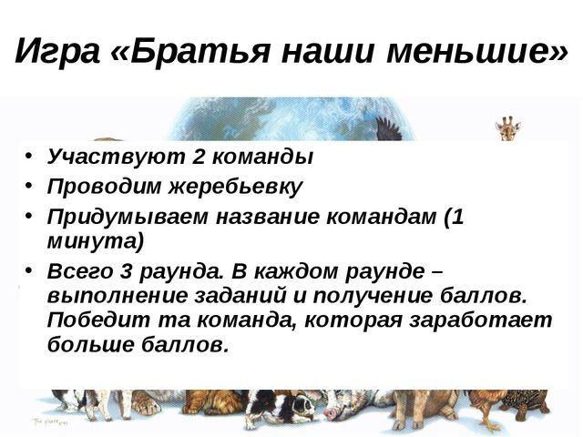 Игра «Братья наши меньшие» Участвуют 2 команды Проводим жеребьевку Придумывае...