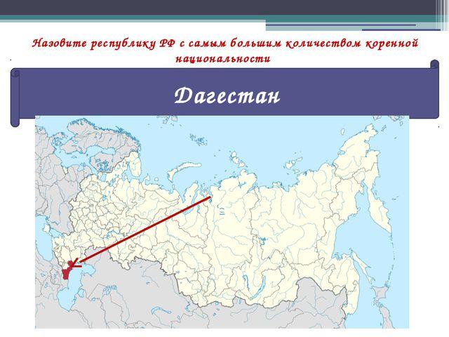 Назовите республику РФ с самым большим количеством коренной национальности Да...
