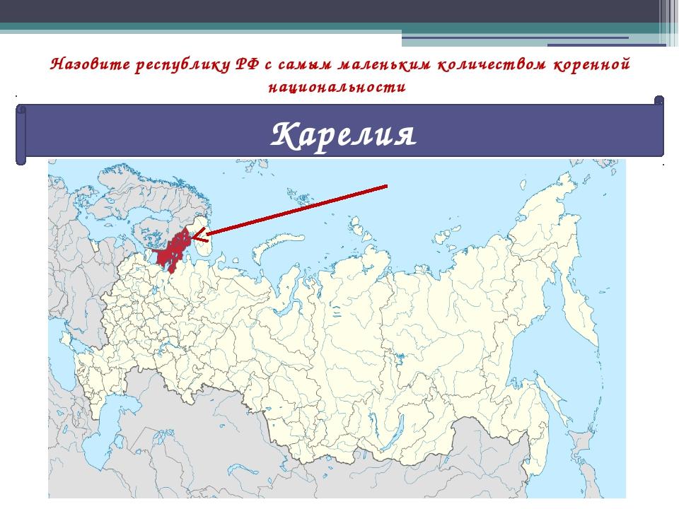Назовите республику РФ с самым маленьким количеством коренной национальности...