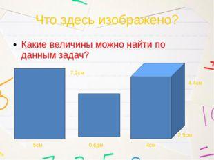 Что здесь изображено? Какие величины можно найти по данным задач? 5см 7,2см 0