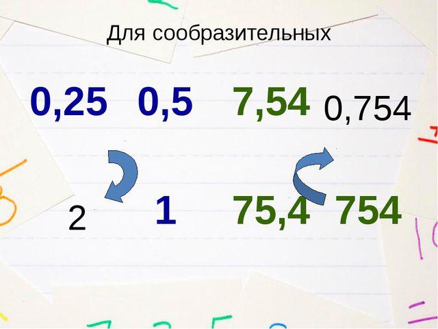 Для сообразительных 2 0,754 0,25 0,5 1 7,54 75,4 754