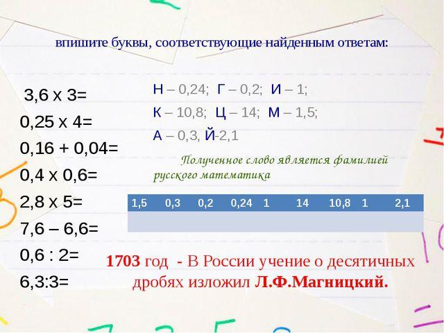 впишите буквы, соответствующие найденным ответам: 3,6 х 3= 0,25 х 4= 0,16 + 0...
