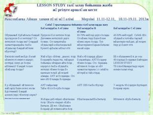 LESSON STUDY талқылау бойынша жазба жүргізуге арналған кесте Жексенбаева Айма