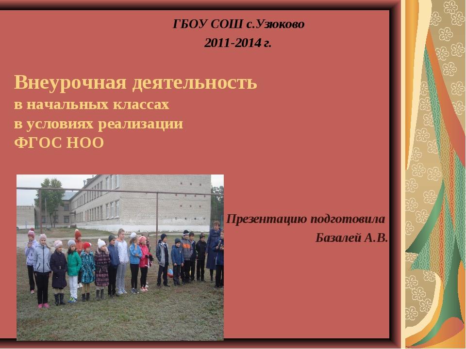Внеурочная деятельность в начальных классах в условиях реализации ФГОС НОО Пр...