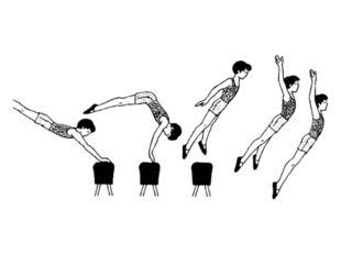 … 2 - отталкиваясь от него обеими ногами, прыжок вперёд-вверх с последующим к