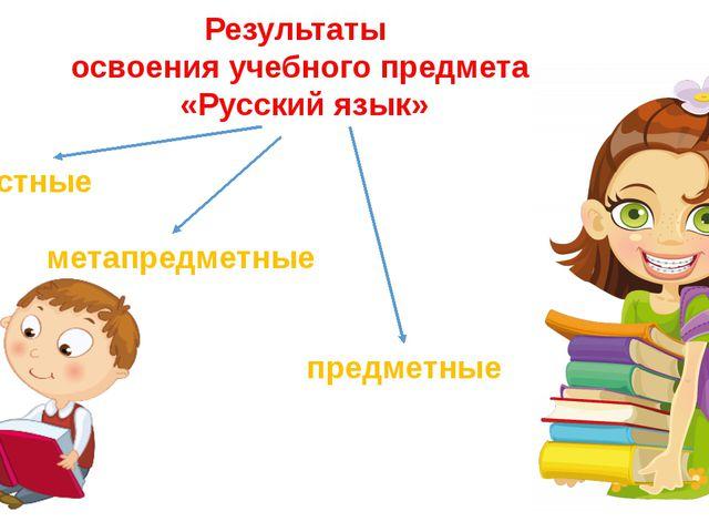 Результаты освоения учебного предмета «Русский язык» личностные метапредметны...