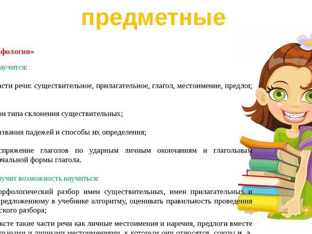 Раздел «Морфология» Выпускник научится: определять части речи: существительно...