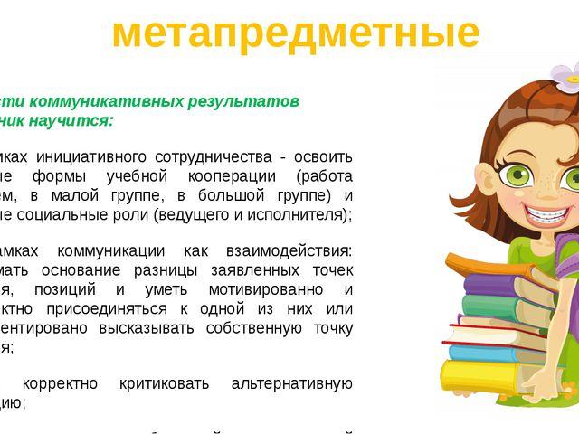 В области коммуникативных результатов выпускник научится: в рамках инициативн...