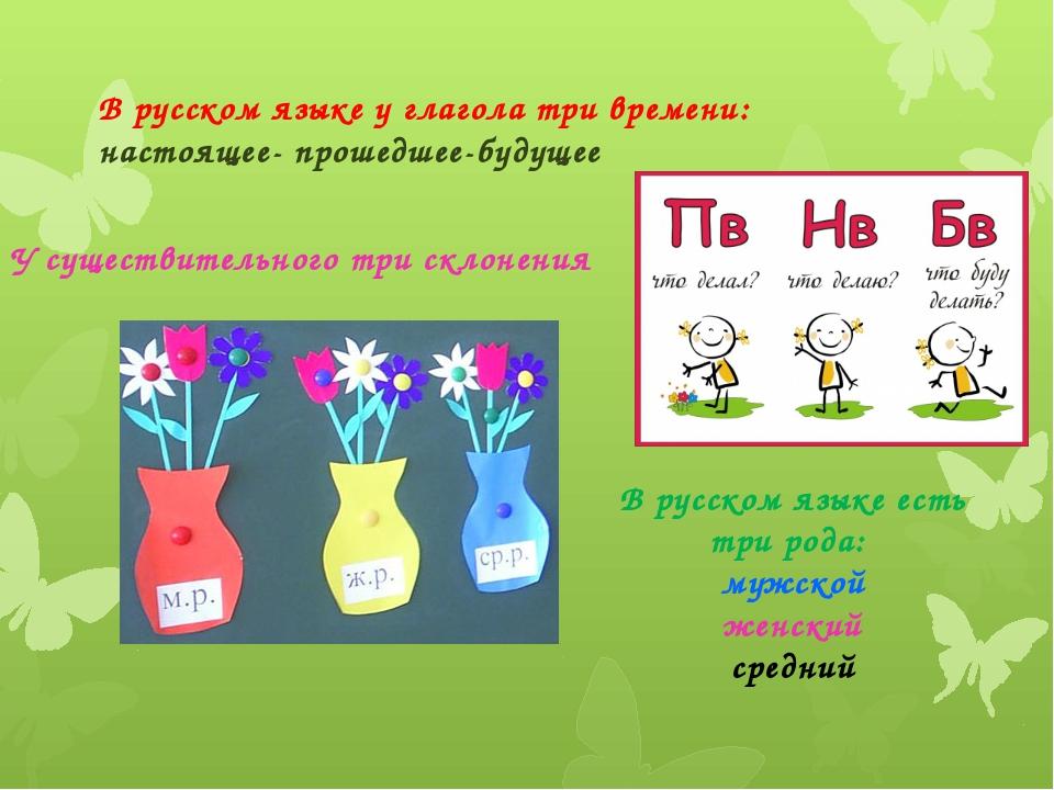 В русском языке у глагола три времени: настоящее- прошедшее-будущее У существ...
