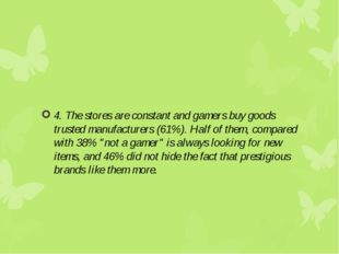 4. The stores are constant and gamers buy goods trusted manufacturers (61%).