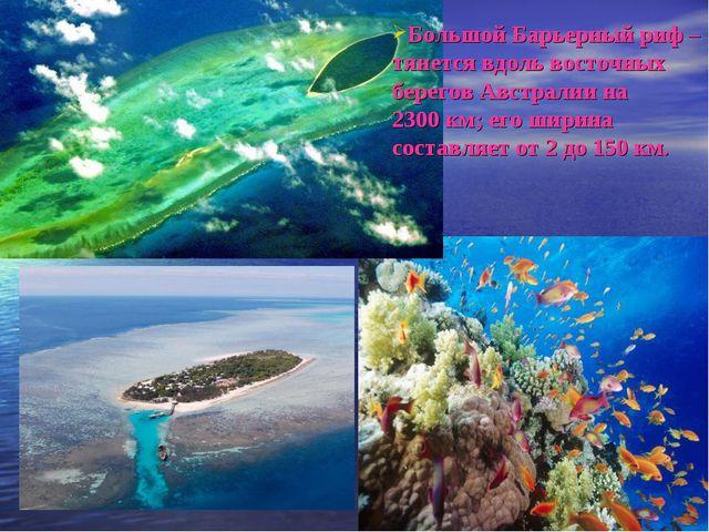 Большой Барьерный риф – тянется вдоль восточных берегов Австралии на 2300км;...