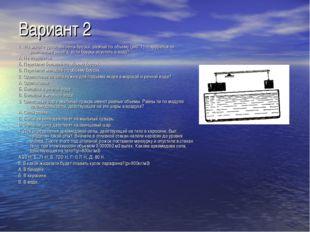 Вариант 2 1 . На рычаге уравновешены бруски, разные по объему (рис. 1). Наруш
