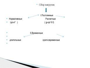 Сбор нагрузок I.Постоянные Нормативные Расчетные (qn=t*ρ) ( g=qn*ɣf) II.Време