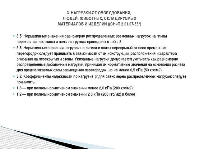 3.5. Нормативные значения равномерно распределенных временных нагрузок на пли...
