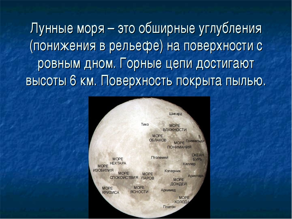 Лунные моря – это обширные углубления (понижения в рельефе) на поверхности с...