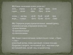 12) Какие окончания нужно дописать? летн__ утрома) им б)