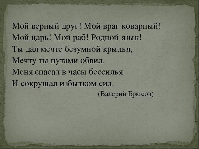 Мой верный друг! Мой враг коварный! Мой царь! Мой раб! Родной язык! Ты дал ме...