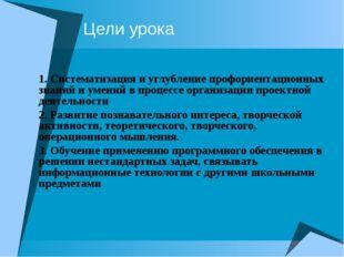 Цели урока 1. Систематизация и углубление профориентационных знаний и умений