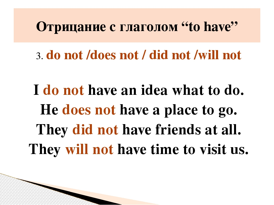 3. do not /does not / did not /will not I do not have an idea what to do. He...