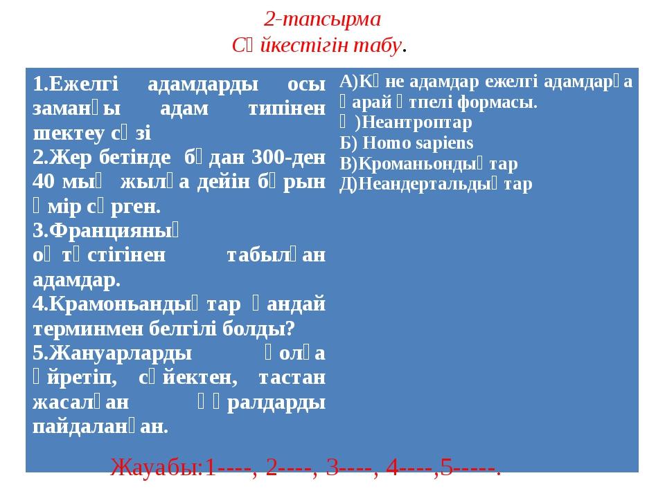 2-тапсырма Сәйкестігін табу. Жауабы:1----, 2----, 3----, 4----,5-----. 1.Ежел...