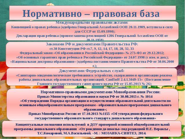 Нормативно – правовая база Международными правовыми актами: Конвенцией о прав...
