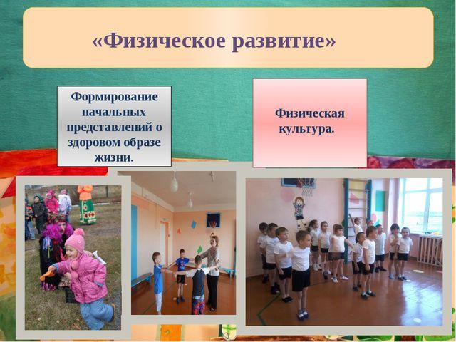 Физическая культура. «Физическое развитие» Формирование начальных представле...