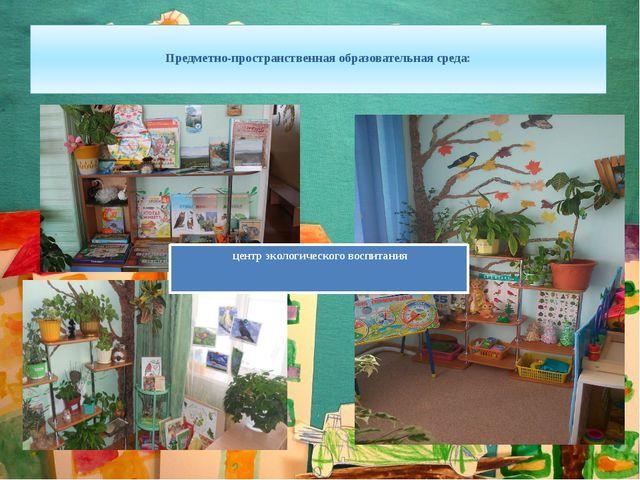 Предметно-пространственная образовательная среда: центр экологического воспи...