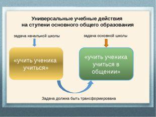 Универсальные учебные действия на ступени основного общего образования задач