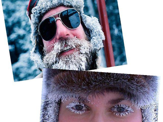 Ресницы, усы, бороды людей на морозе покрываются инеем