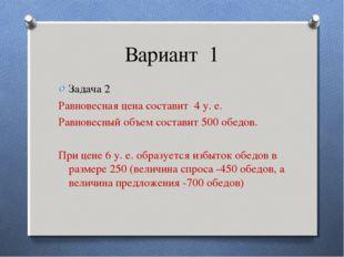 Вариант 1 Задача 2 Равновесная цена составит 4 у. е. Равновесный объем состав