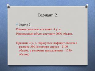 Вариант 2 Задача 2 Равновесная цена составит 4 у. е. Равновесный объем состав
