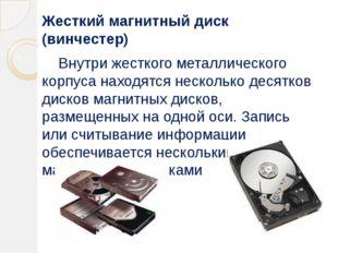 Жесткий магнитный диск (винчестер) Внутри жесткого металлического корпуса нах
