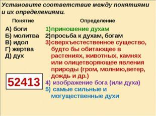 Установите соответствие между понятиями и их определениями. 52413 Понятие Оп