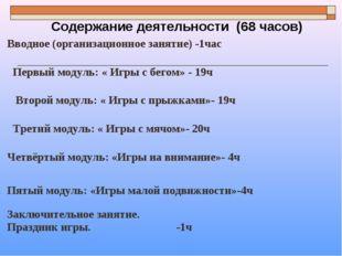 Содержание деятельности (68 часов) Вводное (организационное занятие) -1час П