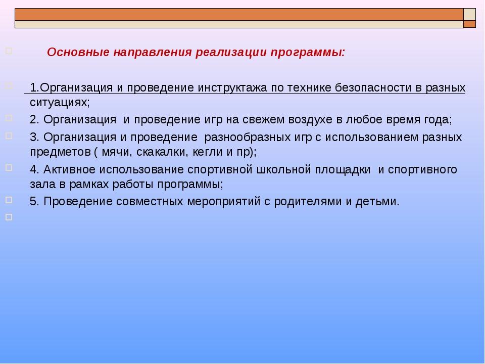 Основные направления реализации программы: 1.Организация и проведение инст...
